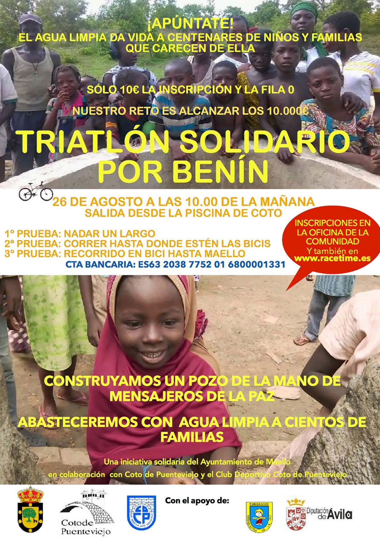 Maello organiza un triatlón solidario por Benin